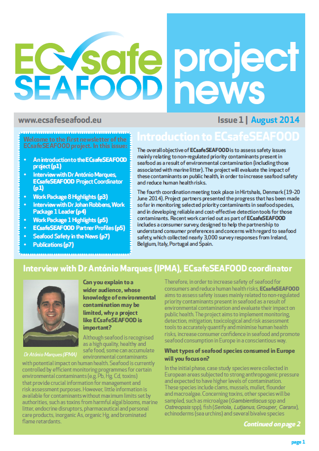 ECsafeSEAFOOD Newsletter issue 1 2015 screen grab